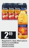 Rougemont 2 L - Oasis - Allen's Juice Or Arizona Ice Tea 8x200 Ml