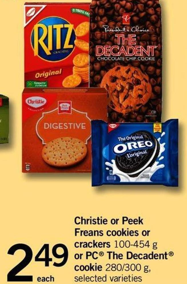 Christie Or Peek Freans Cookies Or Crackers 100-454 G Or PC The Decadent Cookie 280/300 G