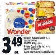 Country Harvest Bagels - Selected Varieties Wonder Wraps