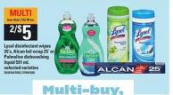 Lysol Disinfectant Wipes 35's Alcan Foil Wrap 25' Or Palmolive Dishwashing Liquid 591 Ml