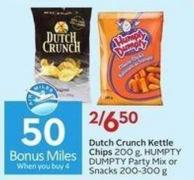Dutch Crunch Kettle Chips 200 g - Humpty Dumpty Party Mix or Snacks 200-300 g - 50 Air Miles Bonus Miles