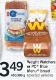 Weight Watchers Or PC Blue Menu Bread - 450/500 g