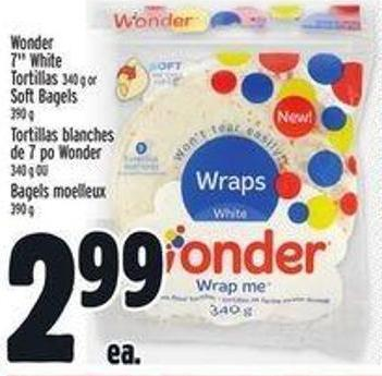 Wonder 7in White Tortillas 340 g Or Soft Bagels 390 g