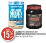 Allmax Protein Powder or Crossfuel Performance Products