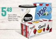 Yop - 6 X 200ml - Liberté Greek - 750g - Yoplait Source Yogurt - 16 X 100g