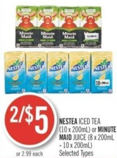 Nestea Iced Tea (10 X 200ml) or Minute Maid Juice (8 X 200ml - 10 X 200ml)