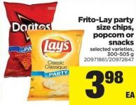 Frito-lay Party Size Chips - Popcorn Or Snacks - 300-505 G
