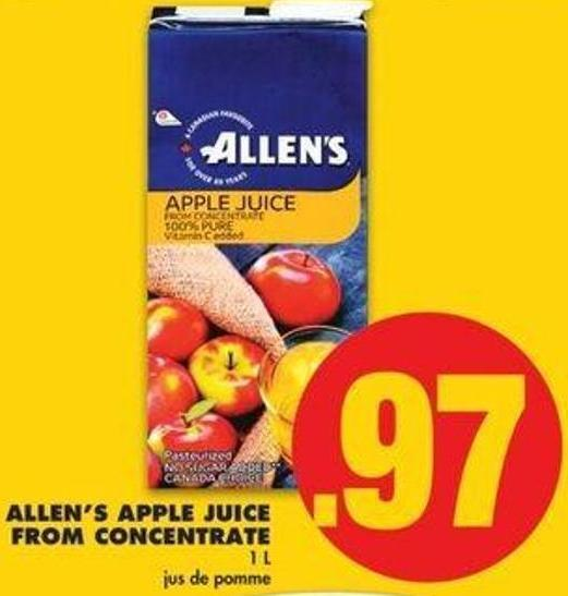 Allen's Apple Juice From Concentrate - 1 L