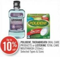 Polident - Therabreath Oral Care Products or Listerine Total Care Mouthwash (250ml)