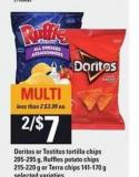Doritos Or Tostitos Tortilla Chips - 205-295 G - Ruffles Potato Chips - 215-220 G Or Terra Chips - 141-170 G