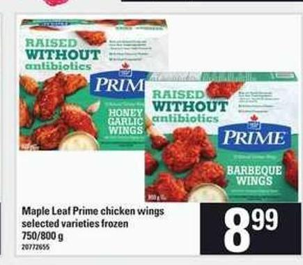 Maple Leaf Prime Chicken Wings - 750/800 g