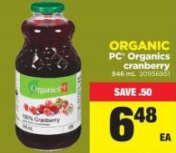 PC Organics Cranberry - 946 mL