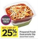 Prepared Fresh Guacamole Dip Assorted Sizes