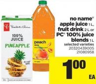 No Name Apple Juice 1 L - Fruit Drink 2 L Or PC 100% Juice Blends 1 L