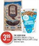 The Good Bean Chickpea Snacks (170g) or Que Pasa Tortilla Chips (350g)
