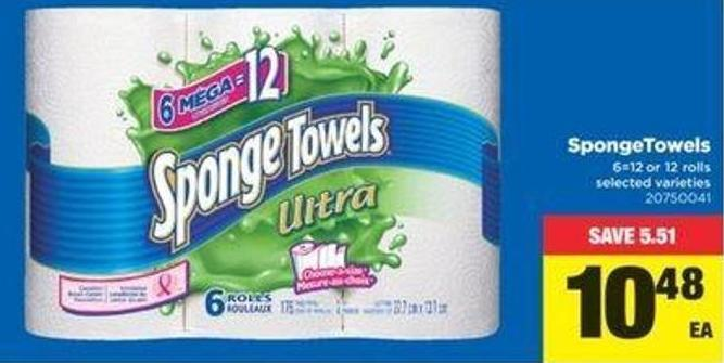 Sponge Towels - 6=12 Or 12 Rolls