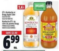 Gt's Kombucha Or Bragg Apple Cider 1.4 L