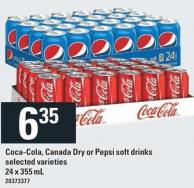 Coca-cola - Canada Dry or Pepsi Soft Drinks - 24 X 355 mL