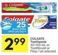 Colgate Toothpaste 40-150 mL or Toothbrush or Floss 1 Pk Selected - 25 Air Miles Bonus Miles