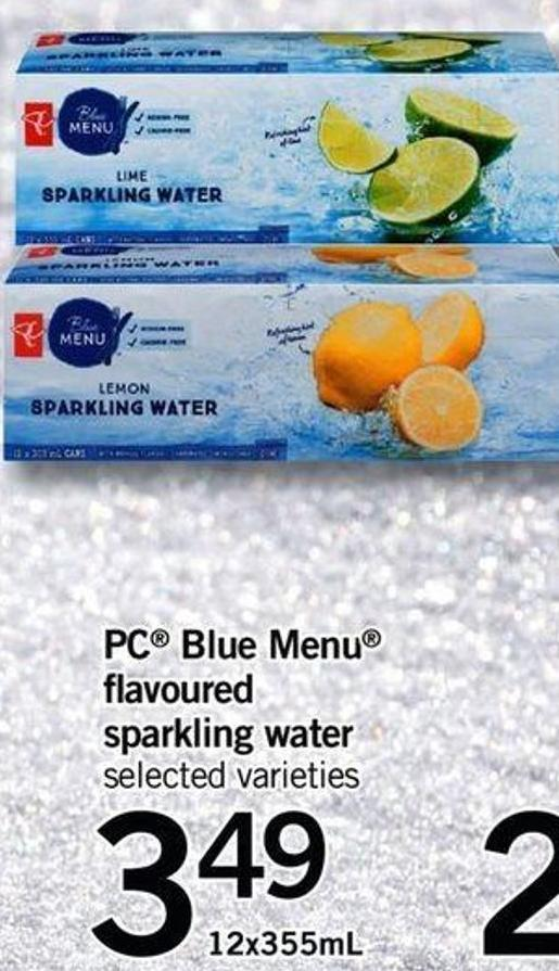 PC Blue Menu Flavoured Sparkling Water - 12x355ml