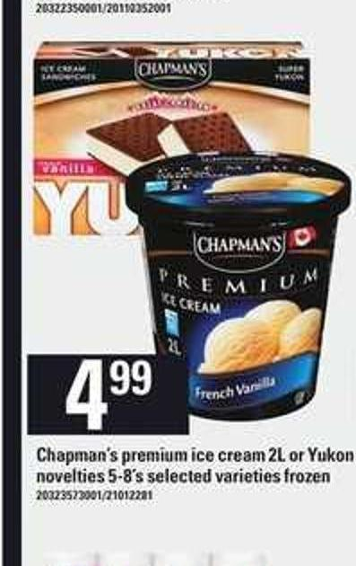 Chapman's Premium Ice Cream - 2l Or Yukon Novelties - 5-8's