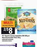 PC Organics Frozen Vegetables - 300-500 G Or Blue Diamond Nut Thins - 120 G