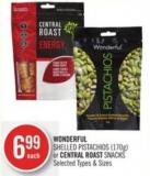 Wonderful Shelled Pistachios (170g) or Central Roast Snacks