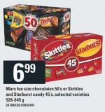 Mars Fun Size Chocolates 50's Or Skittles And Starburst Candy 45's - 528-645 G
