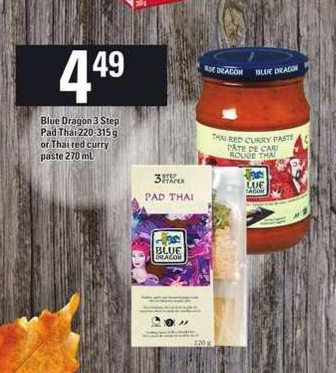 Blue Dragon 3 Step Pad Thai 220-315 G Or Thai Red Curry Paste 270 Ml