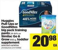 Huggies Pull-ups Or Goodnites Big Pack Training Pants - 24-64's Or Similac Go & Grow - 850 G - Toddler Supplement
