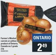 Farmer's Market Carrots Or Yellow Onions Product Of Ontario - 3 Lb