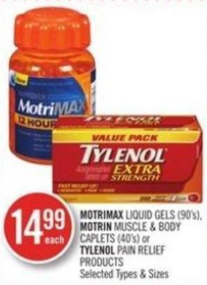 Motrimax Liquid Gels (90's) - Motrin Muscle & Body Caplets (40's) or Tylenol Pain Relief Products