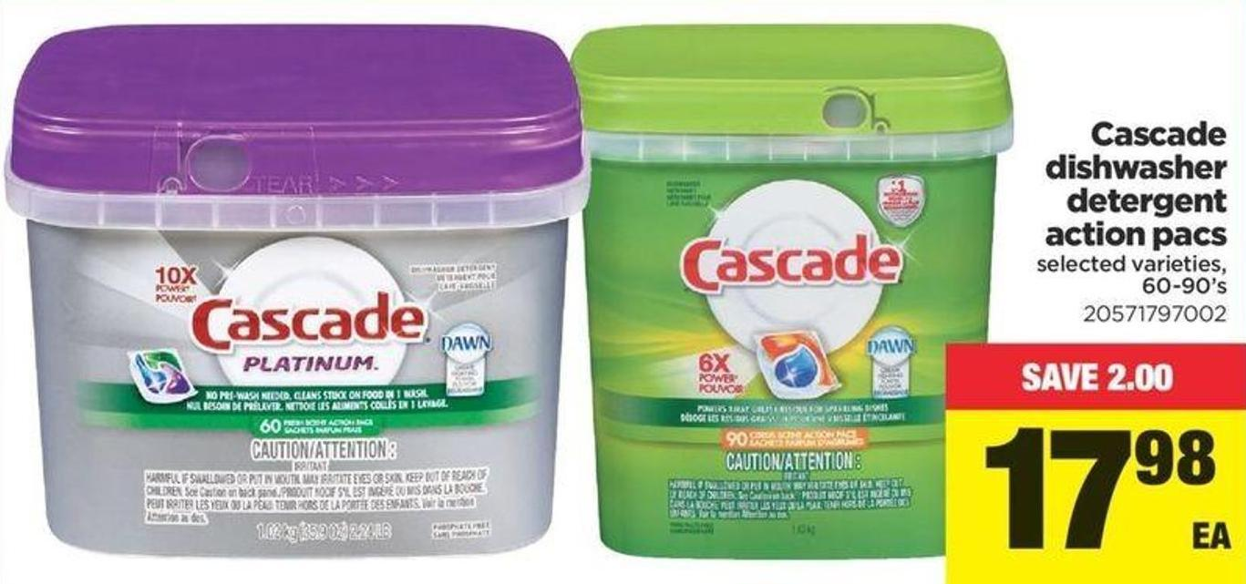 Cascade Dishwasher Detergent Action Pacs - 60-90's