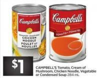 Campbell's Tomato - Cream of Mushroom - Chicken Noodle - Vegetable or Condensed Soup