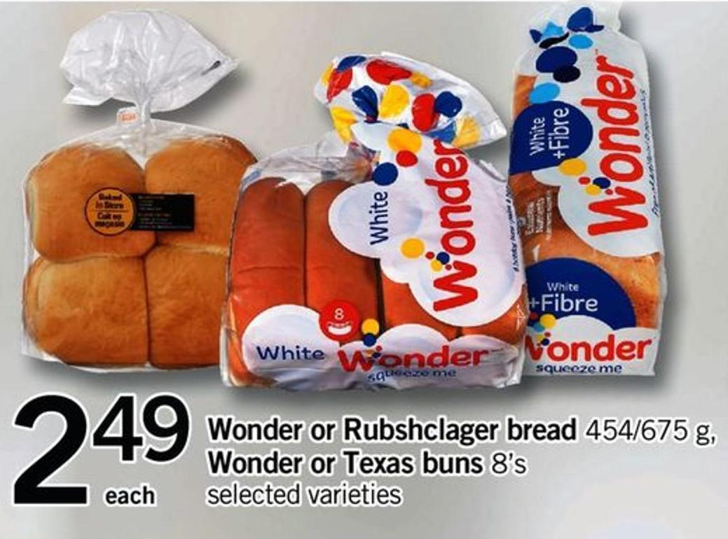 Wonder Or Rubshclager Bread - 454/675 G - Wonder Or Texas Buns - 8's