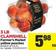 Farmer's Market Yellow Peaches - 3 Lb Clamshell