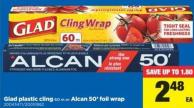 Glad Plastic Cling 60 M Or Alcan 50' Foil Wrap