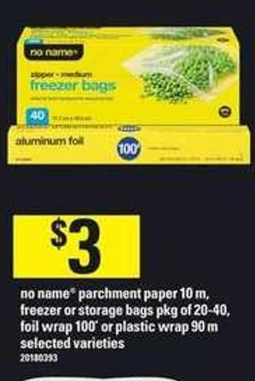 No Name Parchment Paper - 10 M - Freezer Or Storage Bags - Pkg Of 20-40 - Foil Wrap 100' Or Plastic Wrap - 90 M