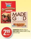 Quadratini Wafers (250g) or Made Good Granola Bars (120g)