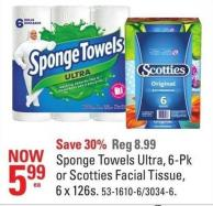 Sponge Towels Ultra - 6-pk or Scotties Facial Tissue - 6 X 126s