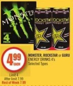 Monster - Rockstar or Guru Energy Drinks 4's