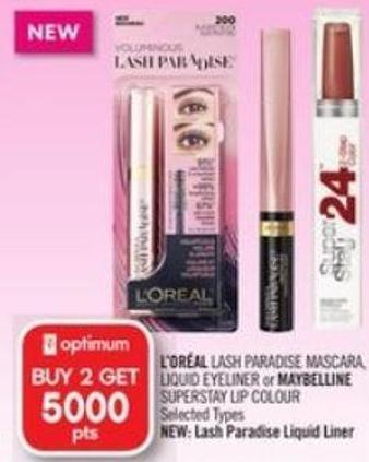 L'oréal Lash Paradise Mascara - Liquid Eyeliner or Maybelline  Superstay Lip Colour