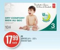 PC Diapers 64's - 102's