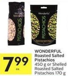 Wonderful Roasted Salted Pistachios 450 g or Shelled Roasted Salted Pistachios 170 g