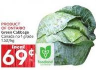 Green Cabbage Canada No 1 Grade 1.52/kg