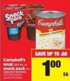 Campbell's Soup - 284 Ml Or Snack Pack - 4's
