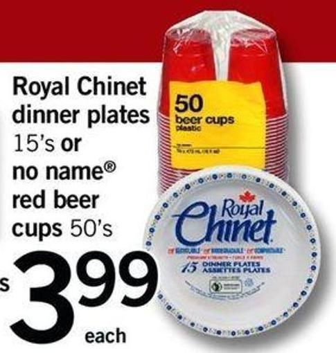Royal Chinet Dinner Plates - 15's Or No Name Red Beer - Cups 50's