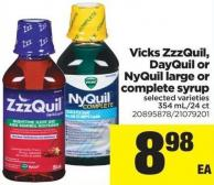 Vicks Zzzquil - Dayquil Or Nyquil Large Or Complete Syrup - 354 Ml/24 Ct