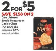 Dare Ultimate -  Simple Pleasures or  Cookie Chips 170-300g Pkg