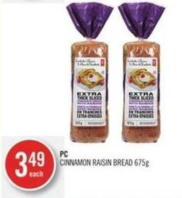 PC Cinnamon Raisin Bread 675g